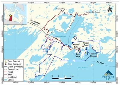 Figure 1: Goldfields Project infrastructure and location map. (CNW Group/Fortune Bay Corp.)
