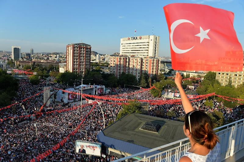 President Recep Tayyip Erdogan's main rival in Sunday's polls on Friday challenged the Turkish strongman in a mass rally in the capital Ankara inviting him for a television debate as a