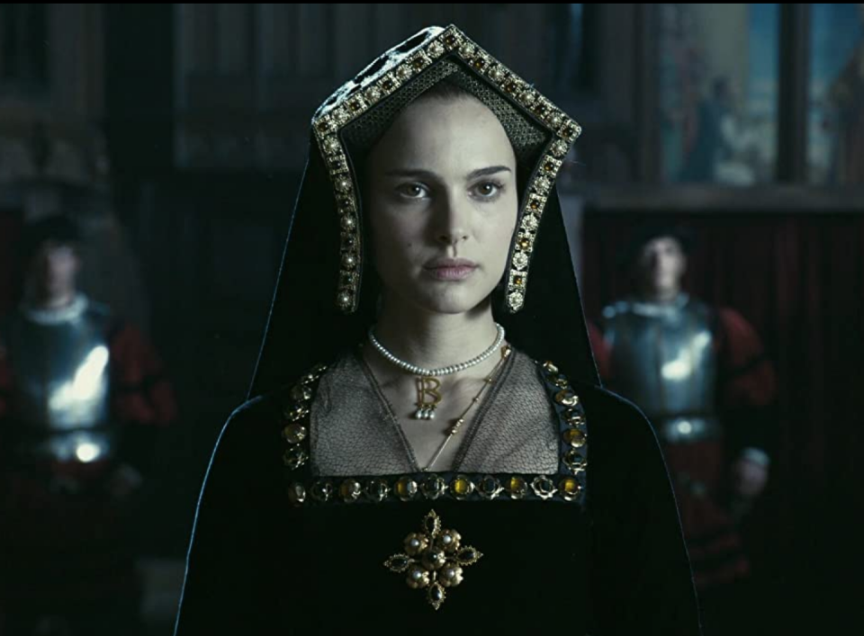 """<p>More than just a unique necklace, Natalie Portman's pearl """"B"""" pendant was symbolic to her character, Anne Boleyn, in <em>The Other Boleyn Girl</em>. </p>"""