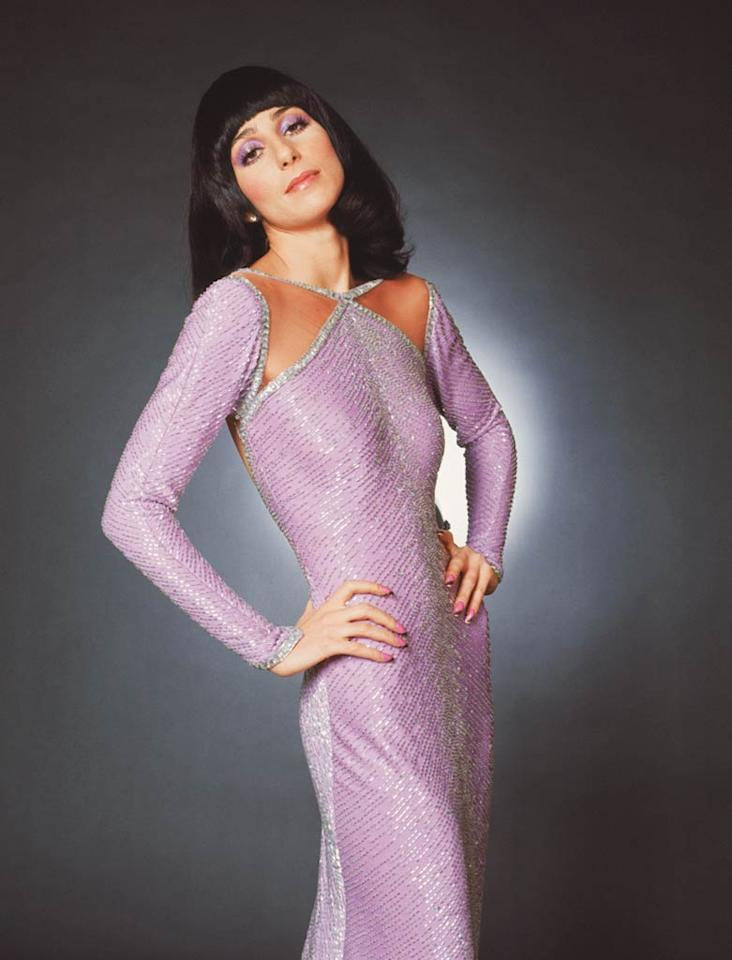 "<b>1972:</b> Bob Mackie did Carol Burnett's wardrobe, and after I was a guest on her show, I thought, If I ever get rich, I want him to do all my clothes."" She wore this matte jersey Mackie dress on ""The Sonny and Cher Comedy Hour.""   <a href=""http://news.instyle.com/photo-gallery/?postgallery=23869?xid=omg-cher-supermodels?yahoo=yes"" target=""new"">The Original Supermodels: Then and Now</a> CBS Photo Archive - 1972"