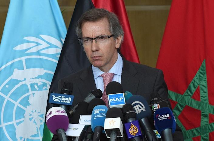Special Representative and Head of the United Nations Support Mission in Libya Bernardino Leon gives a press conference during a round of peace talks on the Libyan conflict on June 9, 2015, in the Moroccan city of Skhirat (AFP Photo/Fadel Senna)