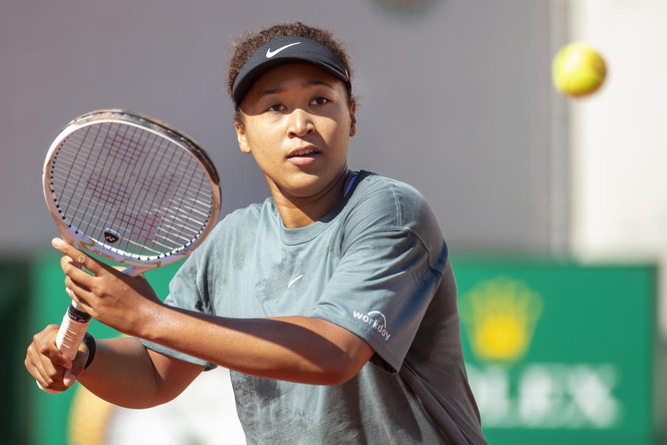 Naomi Osaka of Japan practicing before the 2021 French Open