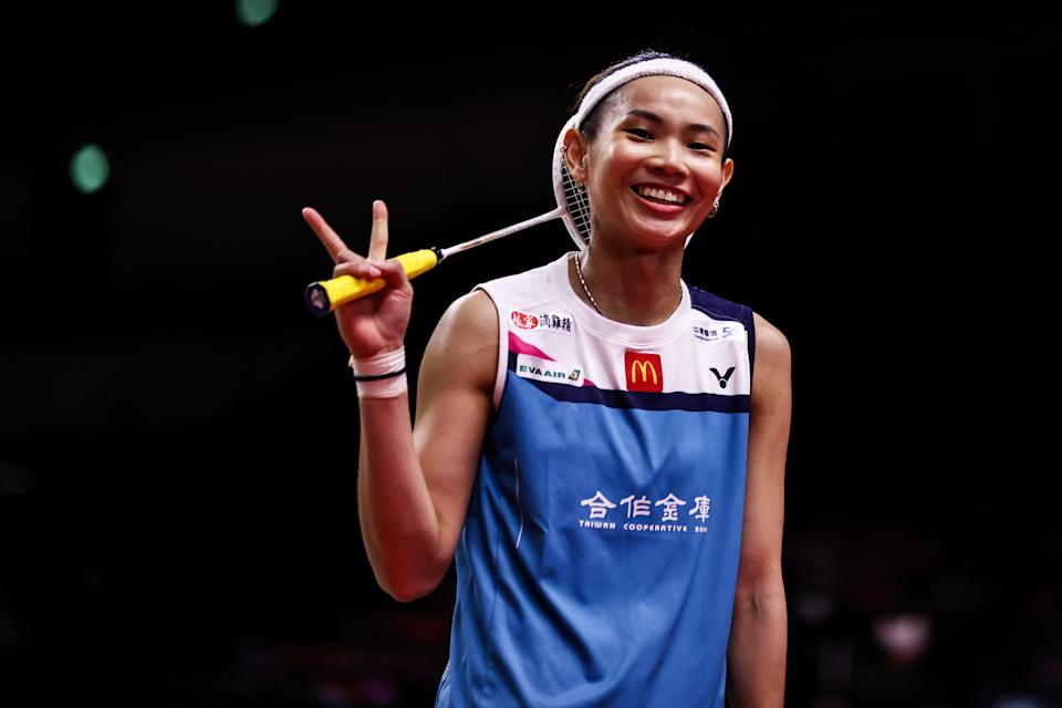 NONTHABURI, THAILAND - JANUARY 27: Tai Tzu Ying of Chinese Taipei celebrates the victory in the Women's Singles round robin match against Pusarla V. Sindhu of India on day one of the HSBC BWF World Tour Finals at the IMPACT Arena on January 27, 2021 in Nonthaburi, Thailand. (Photo by Shi Tang/Getty Images)