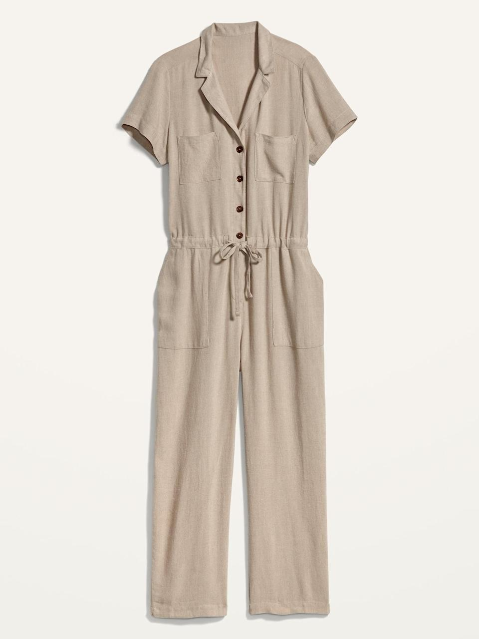 <p>A denim jacket and a pair of mules will make this <span>Linen-Blend Tie-Front Utility Jumpsuit</span> ($36, originally $50) fall-ready in no time. </p>
