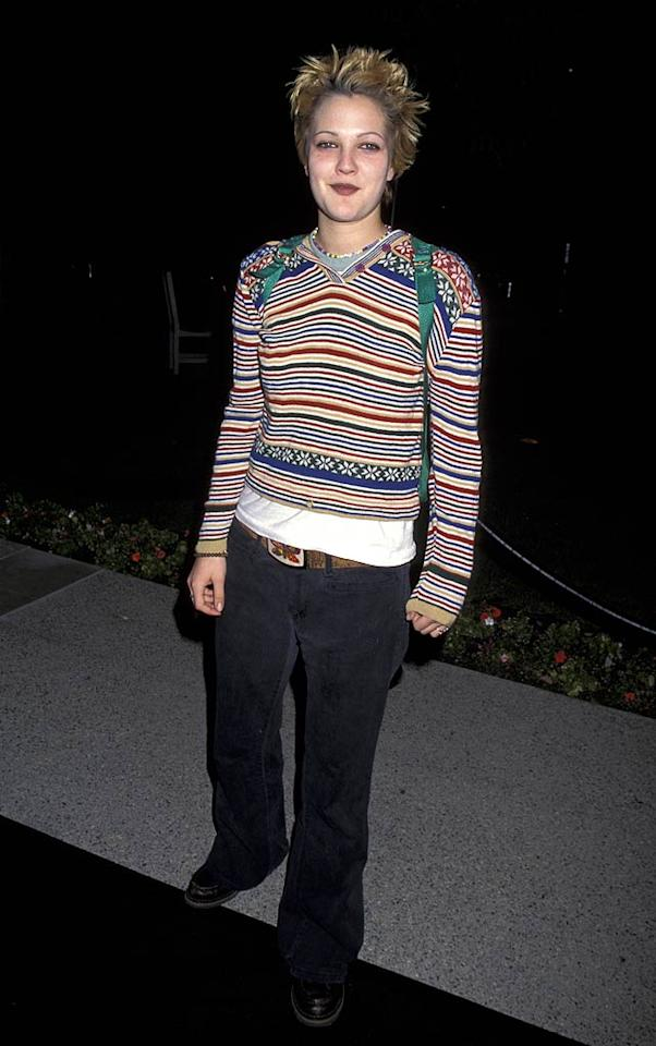 """Unfortunate makeup? Check. Unkempt hair? Check. A striped sweater and clunky shoes? Double check. Drew Barrymore at the premiere of the David Spade-Chris Farley comedy """"Tommy Boy"""" in 1995? Check! Jim Smeal/<a href=""""http://www.wireimage.com"""" target=""""new"""">WireImage.com</a> - March 29, 1995"""