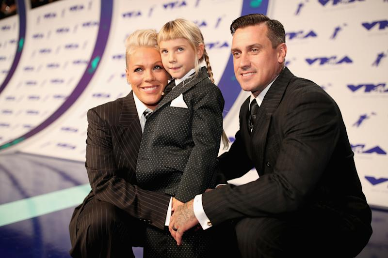 Pink and her husband, Carey Hart, attended the VMAs with their daughter, Willow. (Christopher Polk via Getty Images)