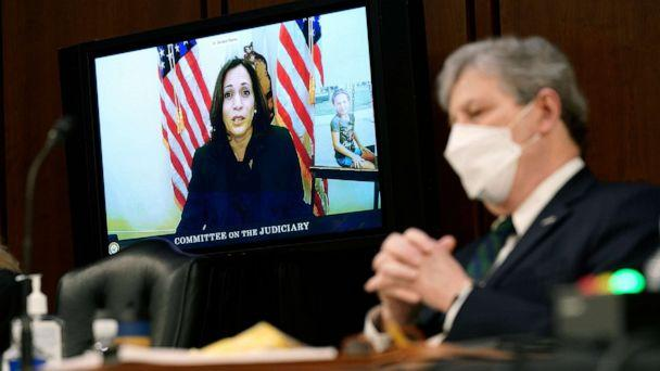 PHOTO: Sen. Kamala Harris speaks virtually during Supreme Court Justice nominee Judge Amy Coney Barrett's confirmation hearing for Supreme Court Justice, as Sen. John Kennedy listens, on Capitol Hill, Oct. 12, 2020 in Washington, D.C. (Patrick Semansky/Pool via Getty Images)
