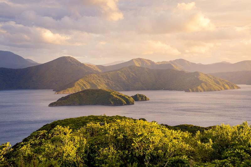 Sunrise over Marlborough Sounds.