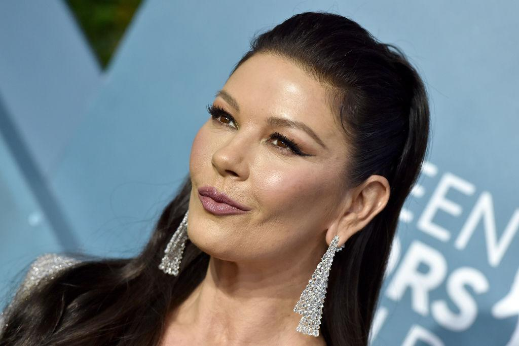 Catherine Zeta Jones is also a fan of a dramatic eyeliner, pictured in January, 2020. (Getty Images)