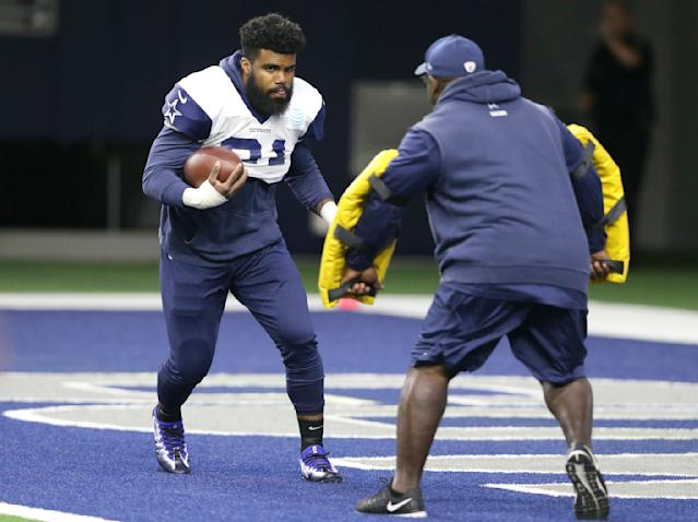 Ezekiel Elliott plans on taking the offensive in his appeal of a six-game suspension for domestic violence. (AP)