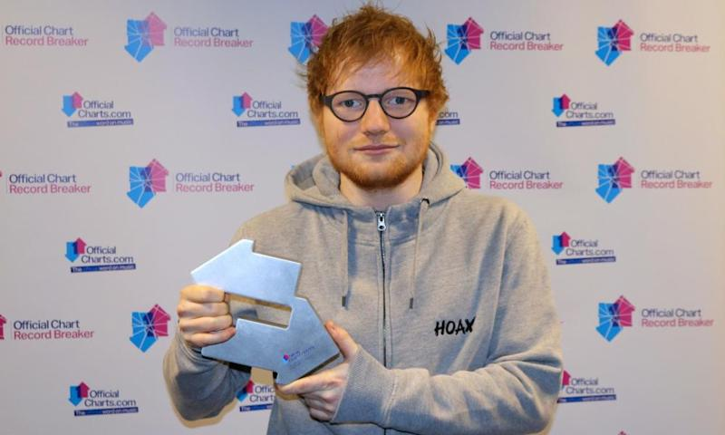 The Sheeran singularity beckons … Ed Sheeran marking his chart achievements.