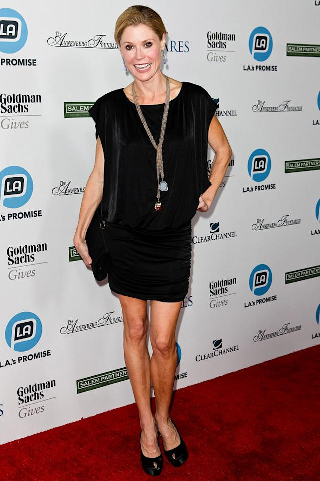 "Also in attendance ... recent Emmy winner Julie Bowen (""Modern Family""), who looked cute as can be in a little black dress, matching peep-toes, and a statement necklace. Chelsea Lauren/<a href=""http://www.wireimage.com"" target=""new"">WireImage.com</a> - September 27, 2011"