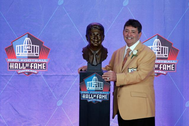 Edward DeBartolo, Jr., former San Francisco 49ers Owner, poses with his bronze bust during the NFL Hall of Fame Enshrinement Ceremony at the Tom Benson Hall of Fame Stadium on August 6, 2016 in Canton, Ohio. (Photo by Joe Robbins/Getty Images)