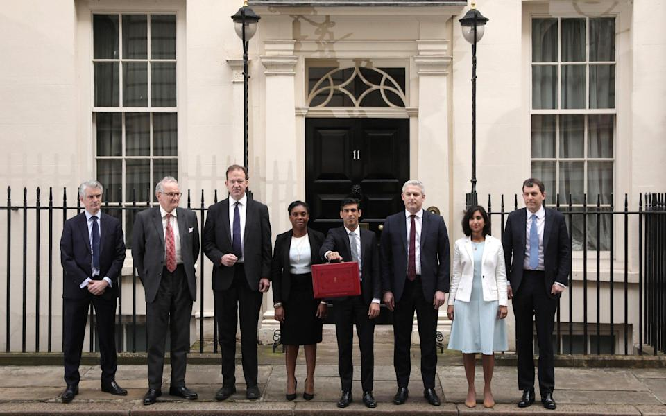 Rishi Sunak departs to deliver the annual Budget with members of the Treasury staff (from 2nd L) Minister of State Lord Agnew, Financial Secretary to the Treasury Jesse Norman, Exchequer Secretary to the Treasury Kemi Badenoch, Chief Secretary to the Treasury Steve Barclay and Economic Secretary to the Treasury John Glen (R) on March 11, 2020 in London, England - Getty Images Europe