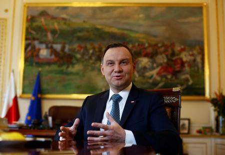 Poland's President Duda speaks during interview with Reuters at the Presidential Palace in Warsaw