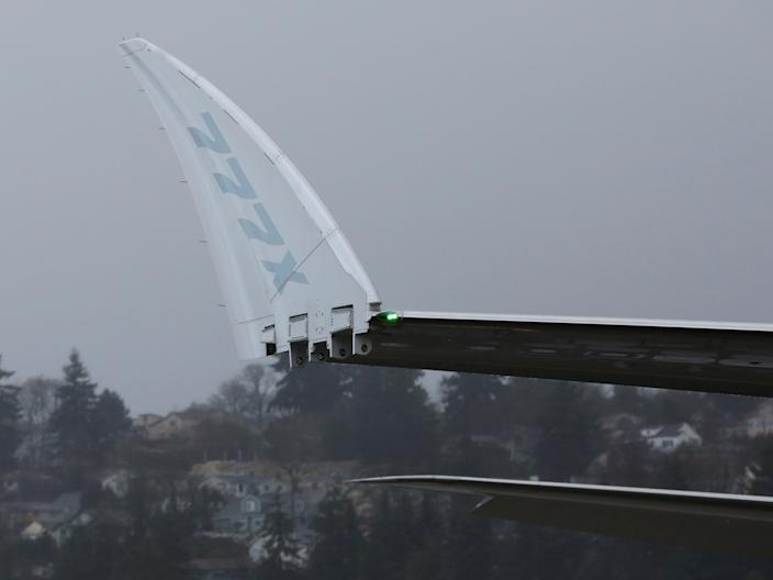 The retractable wingtips of a Boeing 777X.