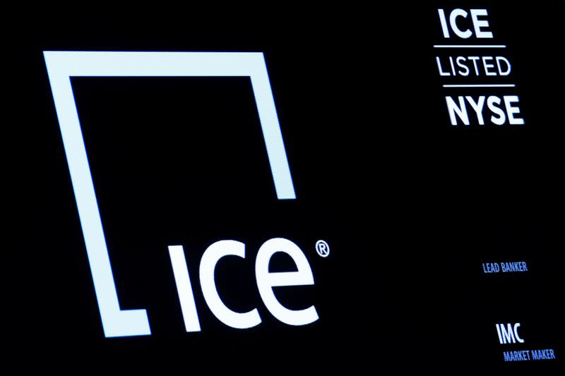 FILE PHOTO: A screen displays the logo and ticker symbol for Intercontinental Exchange, Inc. on the floor of the NYSE