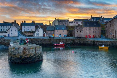 """<span class=""""caption"""">Port Soy Harbour in the Grampian region of Scotland which, along with the Highlands, has a high rate of Huntington's, partly due to ancestral susceptibility to the disease.</span> <span class=""""attribution""""><a class=""""link rapid-noclick-resp"""" href=""""https://www.shutterstock.com/image-photo/sunset-portsoy-harbour-on-aberdeenshire-coast-1916561861"""" rel=""""nofollow noopener"""" target=""""_blank"""" data-ylk=""""slk:Helen Hotson/Shutterstock"""">Helen Hotson/Shutterstock</a></span>"""