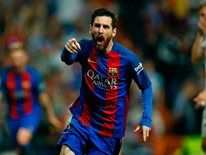 Lionel Messi scored with the final kick of the game to secure a 3-2 victory for Barcelona over Real Madrid: Getty