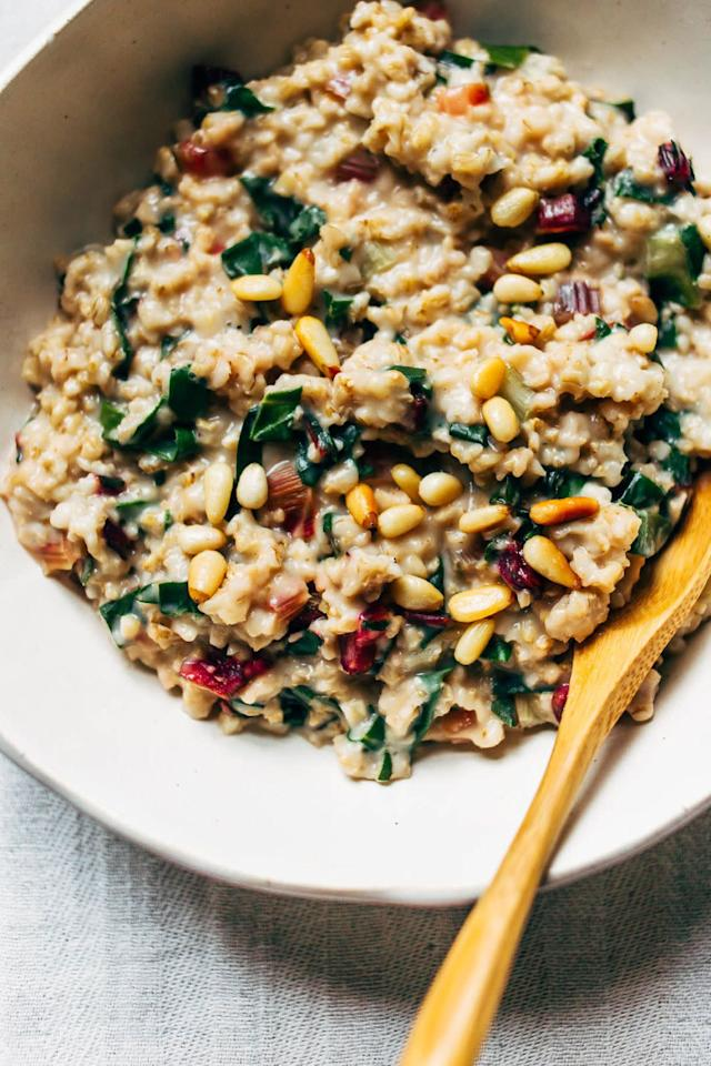 <strong>Get the <span>Creamy Steel Cut Oats with Rainbow Chard and Pine Nuts recipe </span>from Wholehearted Eats</strong>, reprinted with permission from <i><span>Simply Vibrant</span></i><i> </i>by Anya Kassoff