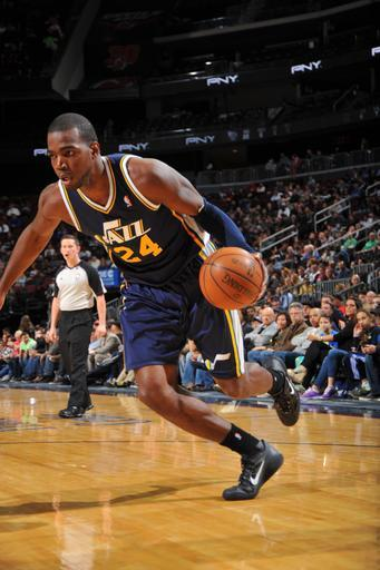 NEWARK, NJ - MARCH 26: Paul Millsap #24 of the Utah Jazz moves the ball against the New Jersey Nets on March 26, 2012 at the Prudential Center in Newark, New Jersey. (Photo by Jesse D. Garrabrant/NBAE via Getty Images)