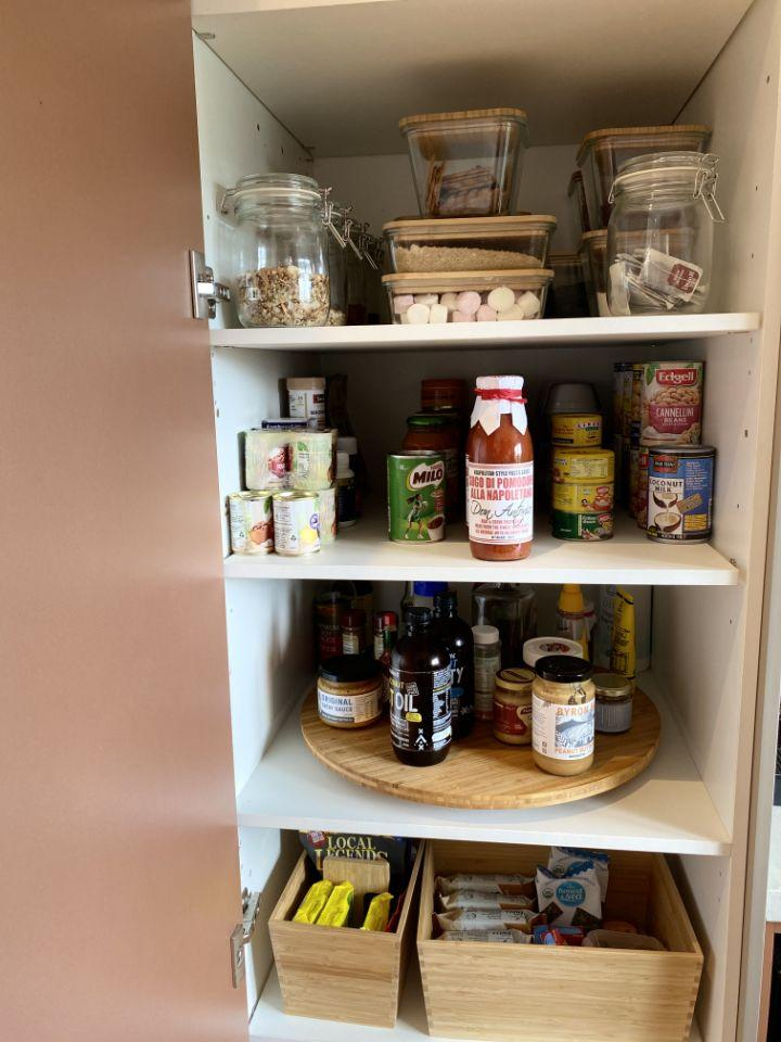 Shelley uses the IKEA Lazy Susan for all her sauces in the pantry. Photo: Supplied