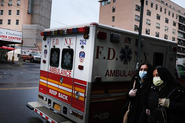Ambulances and EMS crews throughout New York are dealing with record numbers of emergency calls amid the coronavirus pandemic. (Photo by Spencer Platt/Getty Images)