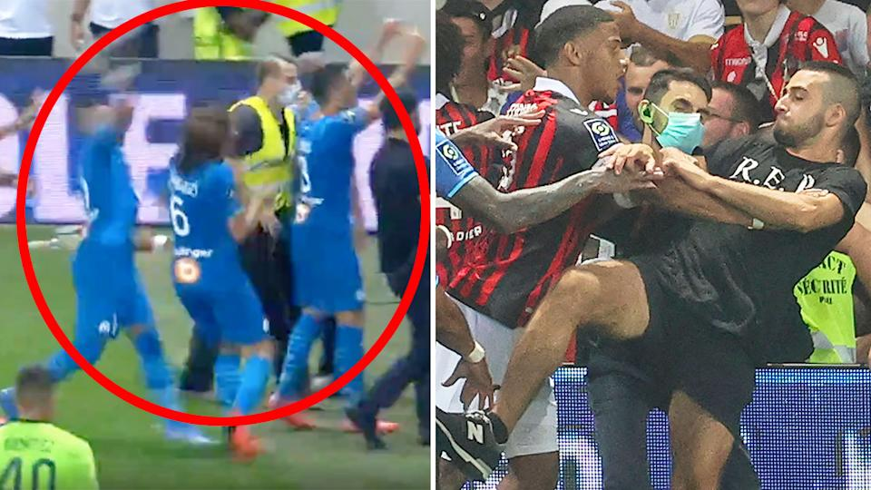 Pictured here, the ugly scenes that marred the Nice match against Marseille.