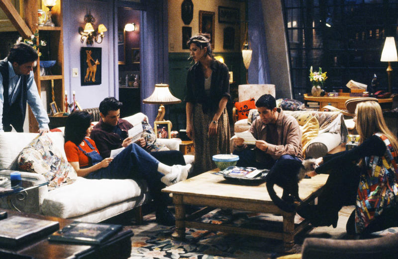 """FRIENDS -- """"The One with the Fake Monica"""" Episode 21 -- Pictured: (l-r) Lisa Kudrow as Phoebe Buffay, Matt LeBlanc as Joey Tribbiani, Jennifer Aniston as Rachel Green, David Schwimmer as Ross Geller, Matthew Perry as Chandler Bing, Courteney Cox Arquette as Monica Geller (Photo by NBCU Photo Bank/NBCUniversal via Getty Images via Getty Images)"""
