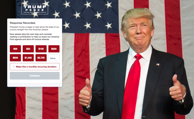 A screenshot from the website. (Donaldjtrumpcom)