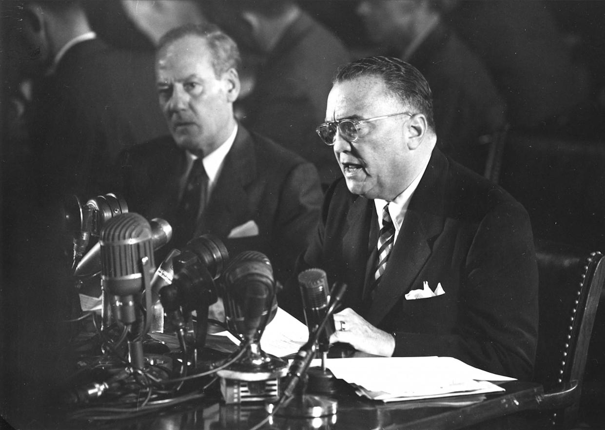 FBI Director J. Edgar Hoover testifies about alleged communist infiltration in government before the Senate Internal Security Subcommittee on Nov. 17, 1953. (Photo: AP)
