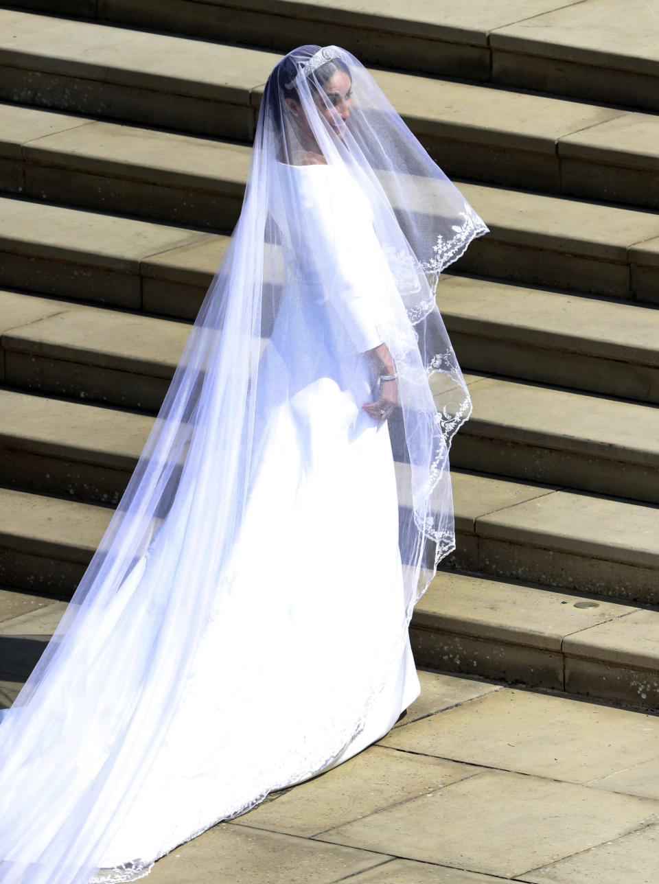 The Duchess of Sussex has also revealed the tribute to the commonwealth countries in her veil [Photo: Getty]