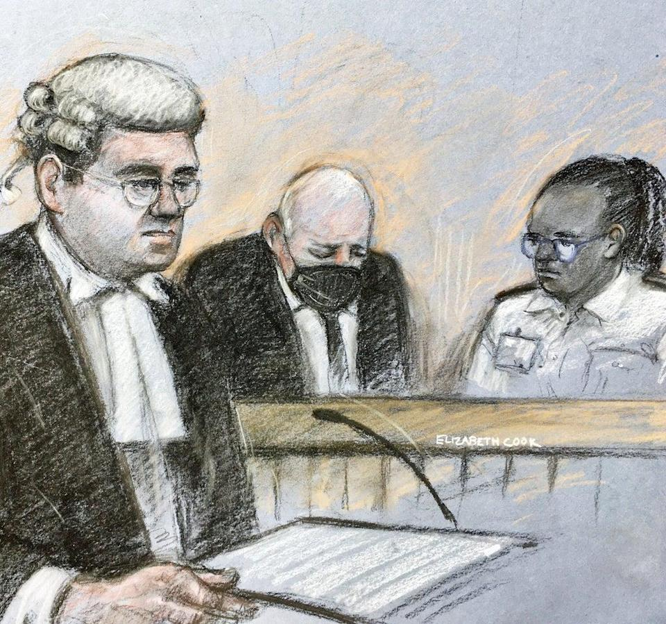 Court artist sketch of prosecutor Tom Little QC addressing the court with Wayne Couzens in the dock behind him (Elizabeth Cook/PA) (PA Wire)