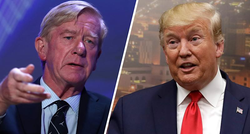 Republican presidential candidate former Massachusetts Governor Bill Weld (R-MA) and President Donald Trump speaks to the media as he visits the El Paso Regional Communications Center after meeting with people affected by the El Paso mass shooting. (Photos: Joe Raedle/Getty Images, Evan Vucci/AP)