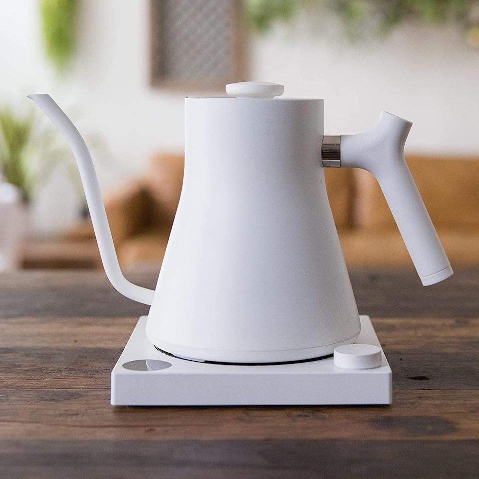 <p>This <span>Fellow Stagg EKG Electric Gooseneck Kettle</span> ($149) is a great addition to anyone's kitchen. Not only is it great for pour-over coffee, but it heats up water fast, and looks good on the countertop.</p>