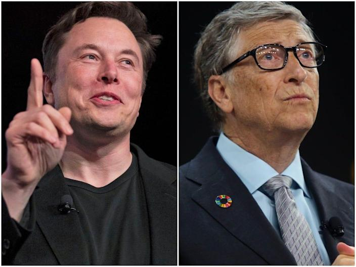 Tesla and SpaceX CEO Elon Musk, left, and Microsoft cofounder Bill Gates, right.