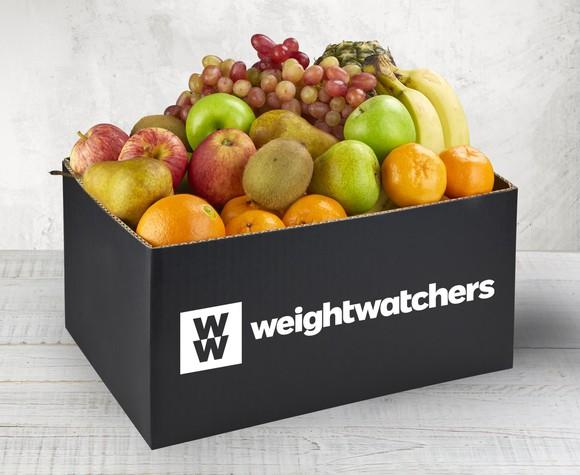 Box of fruit with a WW weightwatchers label.