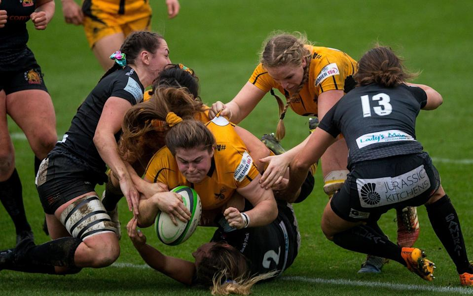 Wasps' Maud Muir scores her side's second try against Exeter Chiefs Women - GETTY IMAGES