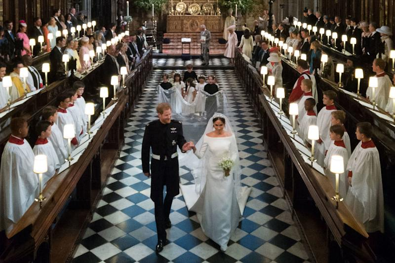Prince Harry and Meghan, Duchess of Sussex, leaving St. George's Chapel after exchanging vows.