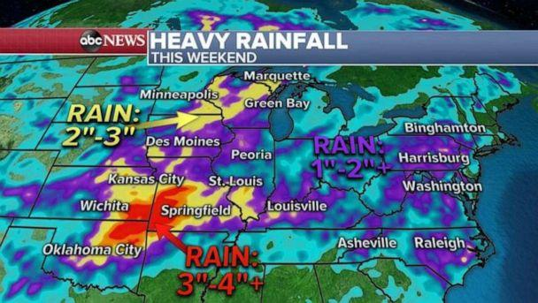 PHOTO: This frontal storm system will linger in the central U.S. through the weekend with more severe weather possible from Texas to Illinois on Saturday and Sunday. (ABC News)
