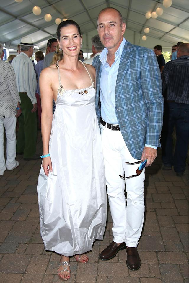 Matt Lauer with his wife, Annette Roque Lauer, at the 2015 Hamptons Classic Grand Prix. (Photo: Sonia Moskowitz/Getty Images)