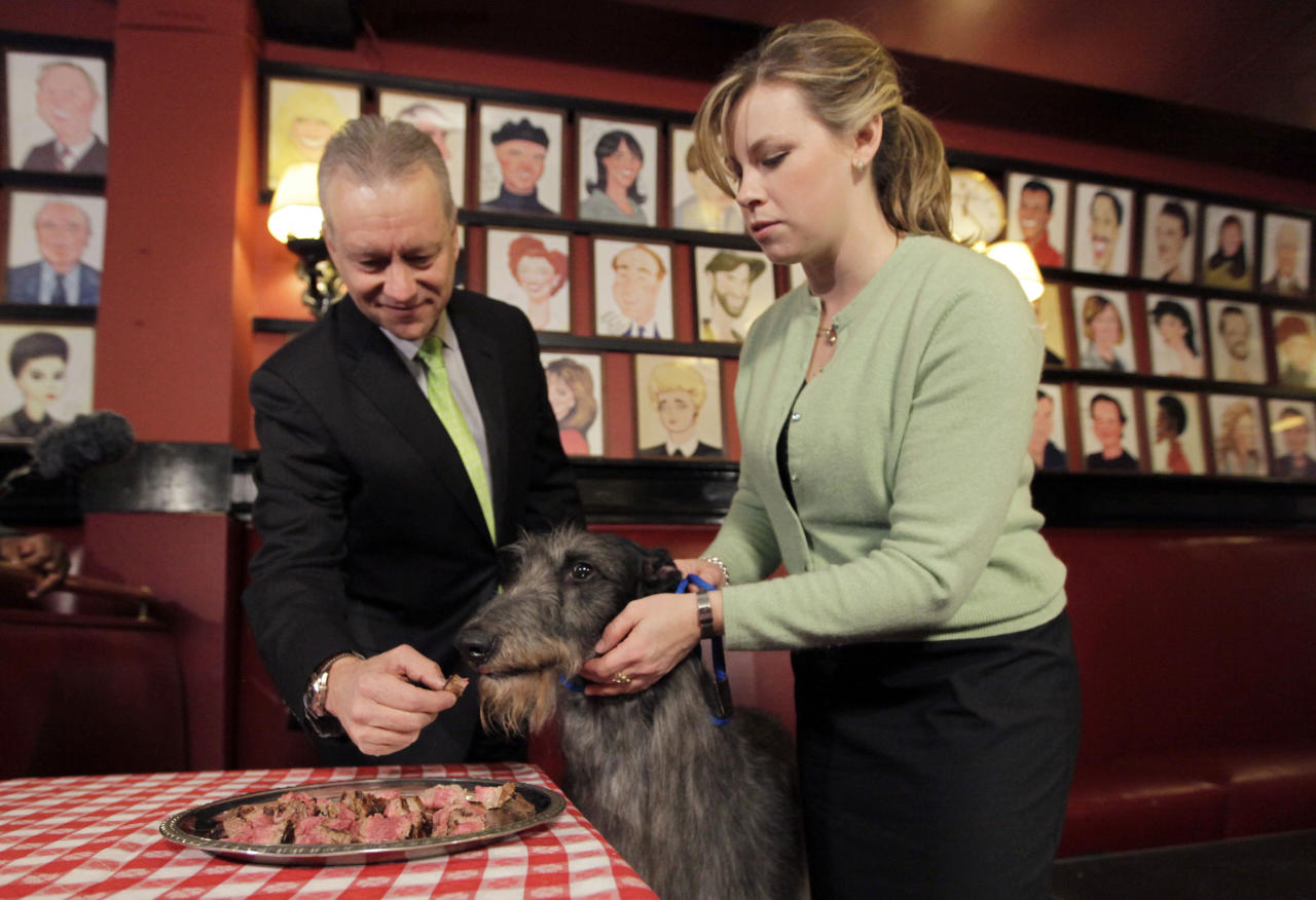 Hickory a 5-year old Scottish deerhound is fed medium rare filet mignon by Sardi's owner V. Max Klimavicius, left, and her handler Angela Lloyd, Wednesday, Feb. 16, 2011, in New York. Hickory won best in show at the 135th Westminster Kennel Dog Show on Tuesday.