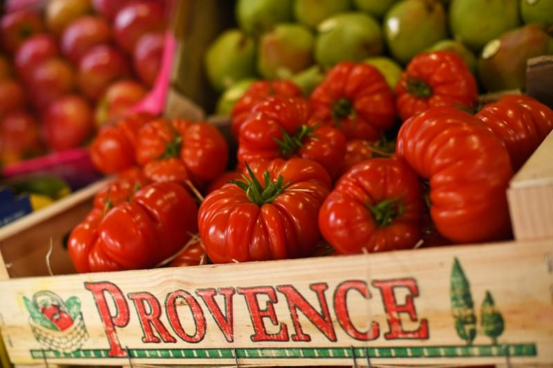 Tomatoes are pictured at Andreas Grocery store, in London
