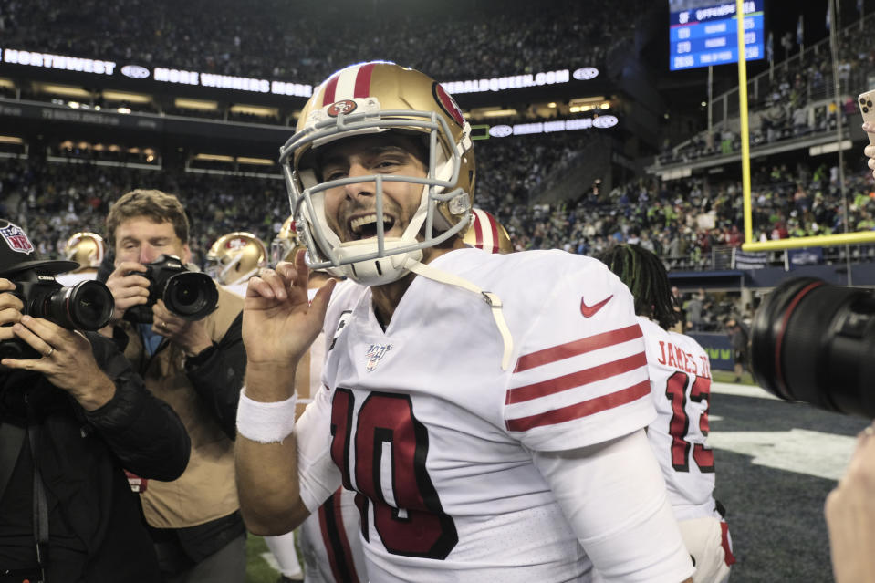 Jimmy Garoppolo helped the 49ers to an NFC West championship. (AP Photo/Stephen Brashear)