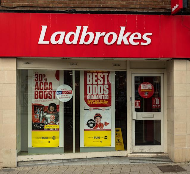 The entrance to Ladbrokes Bookmakers in Regent Street, Swindon, UK. Photo: Getty