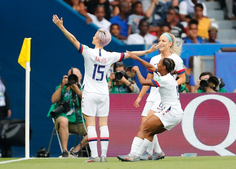 United States forward Megan Rapinoe (15) after scoring a goal against France in the quarterfinal of the Women's World Cup.