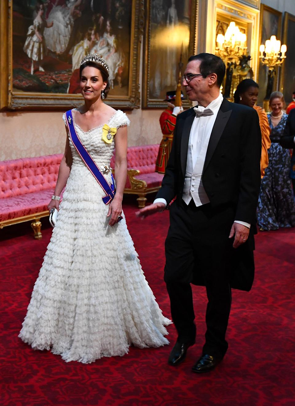 The duchess and U.S. Treasury Secretary Steven Mnuchin at the East Gallery for a state banquet at Buckingham Palace on June 3.