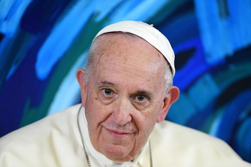 Pope Francis holds a live-stream conference with all the Scholas Occurrentes headquarters around the world, March 21, 2019. (Photo: Vatican Pool/Getty Images)