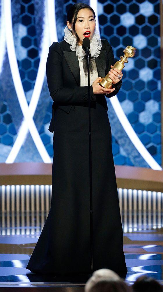 Awkwafina winning the Golden Globe for her role in The Farewell