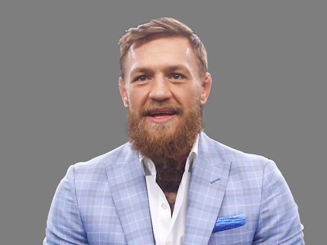 Conor McGregor, mixed martial arts fighter, graphic element on gray